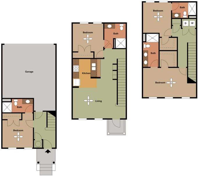 2D floor plans with 4 bedrooms, 4 bathrooms, garage and kitchen.