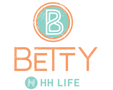 The Betty cyan and orange main logo with HH Life logo (Vertical)